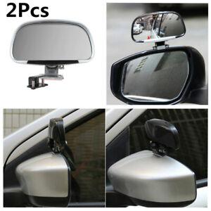 Blind Spot Mirror Wing Mirror For Car Exterior Silver 180 Degree Adjustable 2Pcs