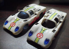 Lot of 2 Vintage 1969 Ideal Mini Motorific White Race Car Shells