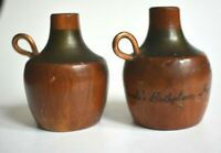 Rare Vintage Wood Jugs With Copper Handle Lincoln's Birthday KY Salt & Pepper
