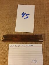 """Antique C-S & Co. No. 68   24"""" Wood and Brass Folding Ruler"""