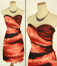 NWT Jovani Size 4 Short $460 Evening Strapless Cruise Formal Red Mult Prom Gown