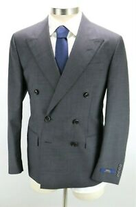 NWT POLO RALPH LAUREN Mens Wool Suit 42 R Grey Prince of Wales Double Breasted