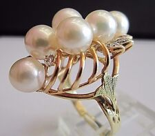 Vintage Handmade 14K Yellow Gold Diamond And Pearl Ring Size 6