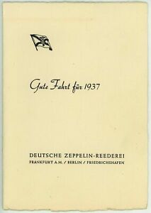 Zeppelin Reederei 1937 New Year Card for Graf Zeppelin and Hindenburg Passengers