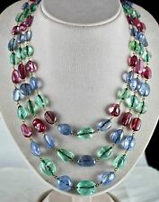 ANTIQUE NATURAL EMERALD BLUE SAPPHIRE SPINEL TUMBLE BEADS IMPORTANT OLD NECKLACE