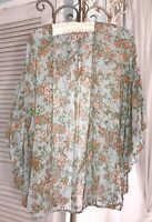 NEW Plus Size 1X XL Green Orange Floral Open Cardigan Kimono Topper