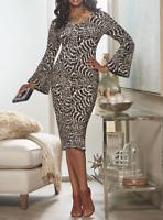 Ashro Brown Animal Print Bell Sleeve Jamilah Dress Church S M L XL 1X 3X PLUS