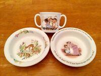 Royal Doulton Beatrix Potter NWOT 2 Handled Mug & Rimmed Bowl & Extra Bambi Bowl