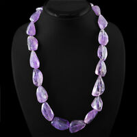 GENUINE TOP 800.00 CTS NATURAL UNTREATED RICH PURPLE AMETHYST BEADS NECKLACE