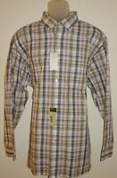 Daniel Cremieux Signature L/S Shirt XL Iris Blue Khaki Plaid NWT (DCS93)