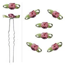 6 épingles pics cheveux chignon mariage mariée fleurs satin vieux rose violacé