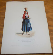 1850 Antique COLOR Print, French Costumes/WOMAN KNITTING, FRESH BUTTER ON HEAD