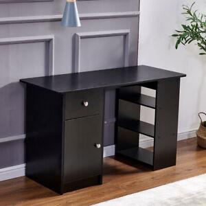 Black Computer Desk with Drawer Door 3 Shelves PC Table Office Desk Home Office