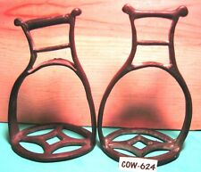 1700's Very Rare FANCY & SOLID BRONZE Hand Forged Unusual Worn Saddle Stirrups