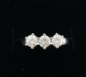 9 CT White Gold CZ Trilogy Ring - Boxed - Engagement Ring - Size Q - Hallmarked