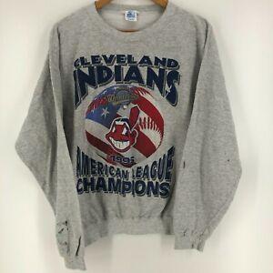 Starter Crewneck Sweater Men's L Gray Cleveland Indians 1995 World Series Vtg