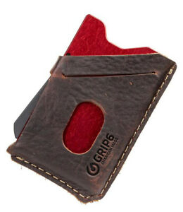 GRIP6 Men's Ember With Brown Leather Slim Minimalist Wallets