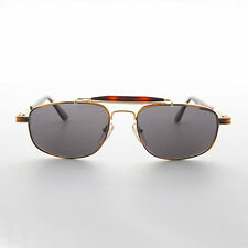 Square Vintage Aviator Sunglasses Gold and Tortoise with Brown Lens -Chipper