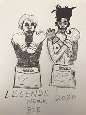 Hasworld Original Drawing, Legends, Basquiat, Andy Warhol, Abstract Signed