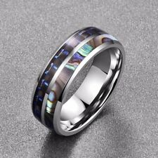 Men's Women's Colorful Shell & Blue Fiber Inlay Titanium Promise Wedding Rings