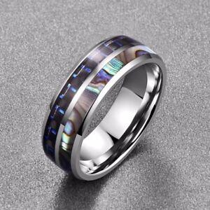 Men's Women's Colorful Shell & Blue Fiber Inlay Titanium Promise Wedding Rings