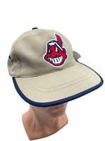 Vintage Cleveland Indians Chief Wahoo Snapback Hat Cap MLB Baseball Khaki NWT