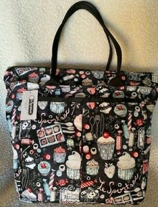 NWT LeSportSac Everygirl Tote in Cupcake pattern black with cupcakes CUTE