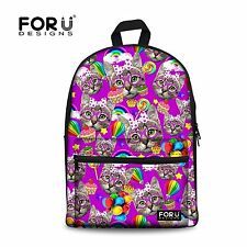 FOR U DESIGNS Leisure Purple Cat Animal Backpack Soft Canvas Book Bag for Teens