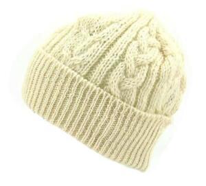Knitted Aran Wool Bob Hat - British Made with British Wool - Cream or Cream Nep
