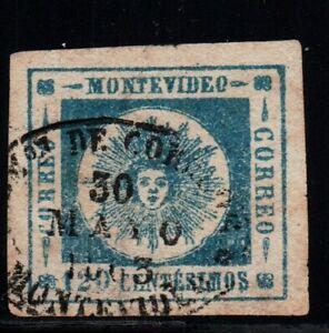 Uruguay classic stamp #16 greenish blue variety  XF  used