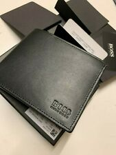 Hugo Boss Mens Asolo Black Leather Bifold Credit Card And Coin Pocket Wallet