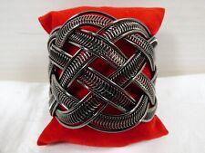 New listing Fashion weaved style dark silver tone metal Cuff Bracelet