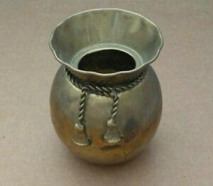 Vintage Elegant Expressions Solid Brass Vase India Braided Rope Design Patina