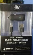 Just Wireless - Dual USB Type C AC Power Car Adapter 17W / 3.4 Amp 6ft Cable NEW