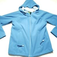 Vintage Cabelas 100% Polyester Fleece Hooded Jacket Zip Up Womens Medium Regular