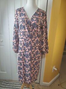 J. Crew Black Label Floral Wrap 365 Crepe Bouquet Dress Size 14T