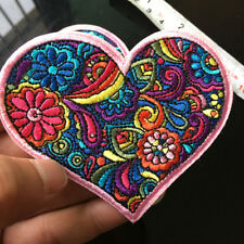 Love Peace Rainbow Heart Patch Daisy Flower Iron On Applique Embroidered Sewing