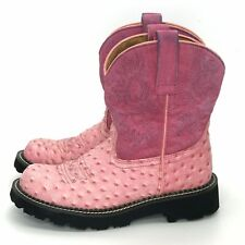 ARIAT FatBaby Pink Faux Ostrich Suede Leather Western Cowgirl Boots Size 6.5 B
