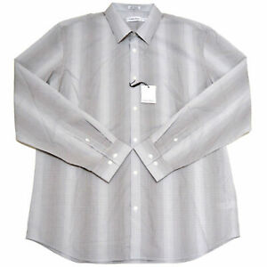 Calvin Klein Mens Buttondown Shirt Long Sleeves Grey Striped Collared Top New M