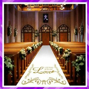 WEDDING AISLE RUNNER Rug with Golden Imprint Pull Cord White 3x100 By JAZORD New