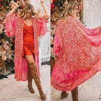 Womens Boho Floral Printed Loose Shawl Kimono Cardigan Cover Up Tops Beachwear