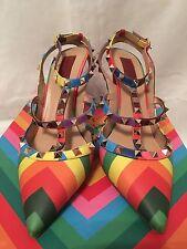 Valentino Garavani 1973 Rainbow Chevron Collection Rockstud T-Strap Heels 40.5
