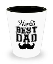 Worlds Best Dad Shot Glass with Moustache - Father's Day Shot Glass - Great Gift