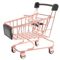 Metal Shopping Cart Supermarket Handcart Kids Learning Toys Accs Rose Gold S