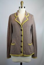 Boden Brown Yellow Trim Collared Cardigan Sweater Size 6 US Cotton Cashmere