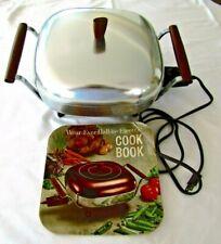 VTG Wear-Ever Hallite Electric Buffet Fry Pan w Lid Cord Recipe Bk Black Walnut