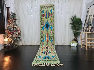 "Vintage Boujad Moroccan Handmade Runner Rug 2'3""x11'8 Geometric Green Berber Rug"