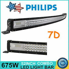 7D TRI-ROW 52INCH 675W CURVED LED LIGHT BAR COMBO OFFROAD 4WD TRUCK ATV CAR BOAT