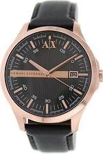 Armani Exchange Mens AX2129 Black Leather Quartz Dress Watch