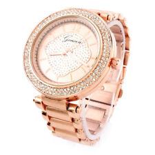 Rose Gold Brushed Bracelet 3D Geneva Crystal Bezel Women's Boyfriend Watch